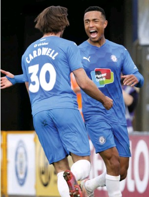 ??  ?? ●●Harry Cardwell celebrates with Alex Reid after scoring against Maidenhead United at the weekend www.mphotographic.co.uk
