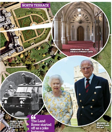??  ?? NORTH TERRACE FAMILY Queen and Duke with Edward and Andrew in 1972 CEREMONY The state entrance of Windsor Castle DEVOTED At Windsor Castle last year