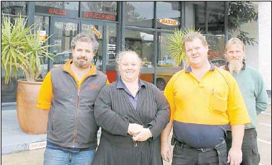 MURPHY'S MOTORS OPEN FOR BUSINESS: Mechanic Tarn Brown (left), business owners Carly and Damian Murphy with mechanic David Gascoyne.