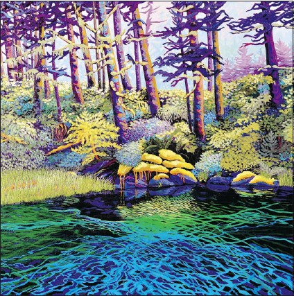 ??  ?? Estuary at Kynoch Inlet, by Mae Moore, is an acrylic on canvas painting done for the Canada's Raincoast at Risk project.