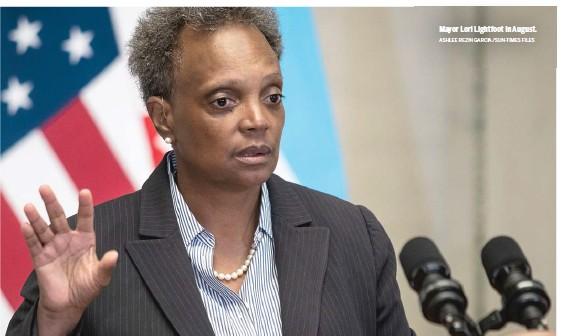 ?? ASHLEE REZIN GARCIA/SUN-TIMES FILES ?? Mayor Lori Lightfoot in August.
