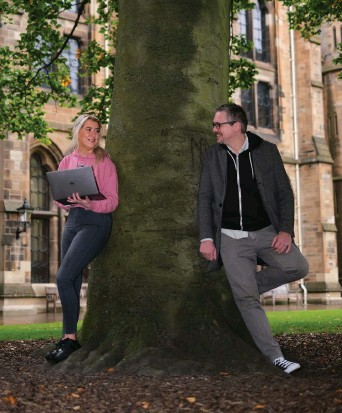 ??  ?? TECH TAKES ROOT: Megan Gallagher (left), a Software Engineering student at Glasgow University with Dr Matthew Barr.
