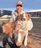 ?? PHOTOS BY THELMA HEIDEL-BAKER ?? Ricky Baker holds their English Shepherd dog, Wazley.