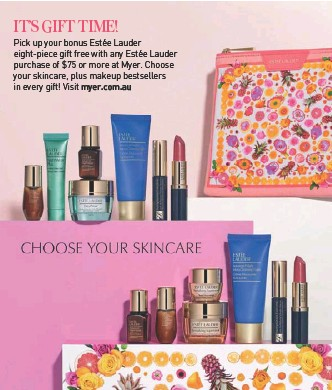 Pick up your bonus Estée Lauder eight-piece gift free with any Estée Lauder purchase of $75 or more at Myer. Choose your skincare, plus makeup bestsellers ...