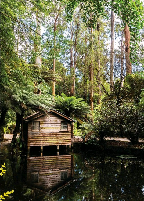 ??  ?? The Dandenong Ranges, VIC, inspired a group of early 20th century nature writers. Pictured here is the boathouse in the Alfred Nicholas Memorial Garden.