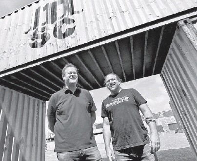 ?? AMY DAVIS/BALTIMORE SUN ?? Co-proprietors Mark Dinerstein, left, and Andy Hotchkiss plan to open Hammerjacks as a multipurpose outdoor entertainment venue in time for the Ravens' 2021 home opener as a tailgating destination.
