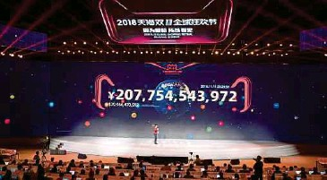 ?? BLOOMBERG PIC ?? Alibaba's gross merchandis­e value for Singles' Day grew more than 4,000 times since it started in 2009, hitting US$30.8 billion last year alone.