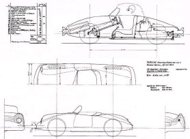 ??  ?? Top right: Both shift linkage and steering gear were prominent in an early profile drawing ofthe Type 356 package, accompanied by an estimate ofweight. Two spares were to be carried in the noseAbove: Numbered 356.00.105, the July 17th 1947 body draft for the ʻVW two-seater sports car ' portrayed a shape that was narrow, not overhanging the wheels, with modest tail fins akin to those ofthe Type 370 Cisitalia