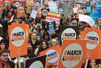 ?? EPA PIC ?? Thousands of women march past the Parliament during a 'March for Women' event in London, ahead of the International Women's Day (IWD), calling for gender equality. IWD is celebrated annually on March 8.