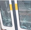 ??  ?? Glass smashed in the doors of the bus. SHARON MONTGOMERY-DUPE • CAPE BRETON POST
