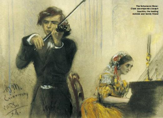??  ?? The Schumann Show: Clara accompanies Joseph Joachim, the leading violinist and family friend
