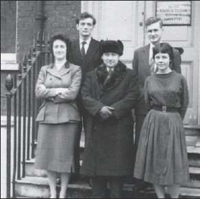 ??  ?? In the early 1960s, Booth (in hat) became the first scientist to lead a cultural exchange visit to the Soviet Union. He is flanked here by two Soviet scientists and two female interpreters.