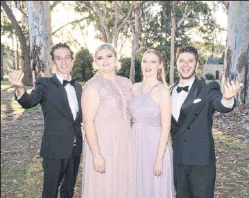 ??  ?? Enjoying a beautiful evening at Mayday Hills after their 'Twilight performance were Opera Scholars Australia tenor Will Grant, sopranos Emma Wallace and Miriam Whiting-Reilly and baritone Andrew Alesi. PHOTOS: Wendy Stephens