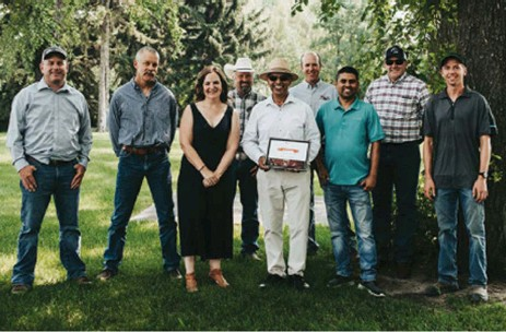 ??  ?? Pictured from left to right: Beef producer Darren Bevans, BCRC Science Director Reynold Bergen, BCRC Executive Director Andrea Brocklebank, beef producer Doug Wray, 2021 Canadian Beef Industry Award for Outstanding Research & Innovation recipient Dr. Surya Acharya, beef producer and BCRC Vice Chair Craig Lehr, AAFC Forage Breeder Hari Poudel, beef producer and BCRC Council Member Graeme Finn and AAFC Forage Agronomy Technician Brandon Eisenreich.
