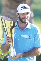 ?? SEAN M. haffey / GETTY IMAGES ?? Max Homa celebrates after winning the Genesis Invitational Sunday in Pacific Palisades, Calif.