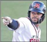 ?? ALEXA WELCH EDLUND/TIMES-DISPATCH ?? Flying Squirrels outfielder Heliot Ramos pointed toward the dugout on Thursday after drilling his second home run in three games this season.