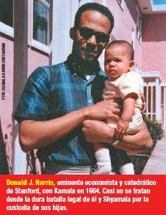 ??  ?? Donald J. Harris, eminente economista y catedrático de Stanford, con Kamala en 1964. Casi no se tratan desde la dura batalla legal de él y Shyamala por la custodia de sus hijas.