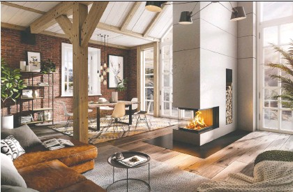 ??  ?? A three-sided fireplace adds ambience and a touch of modernity to this rustic, homey scene.
