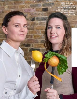 ?? 86 ?? Ellen (left) wears: shirtdress, £320, MARQUES'ALMEIDA at MATCHESFASHION.COM. Alice wears: jumper, £300, GANNI
