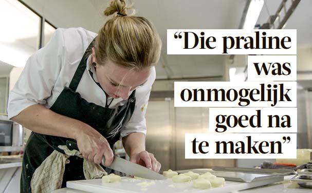 ?? FOTO VTM ?? Anne-Sophie Breysem probeert de befaamde witte Manon-praline na te maken.