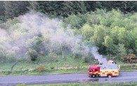 ??  ?? Dramatic Drone picture shows firefighters tackling the blaze on the Gleniffer Braes