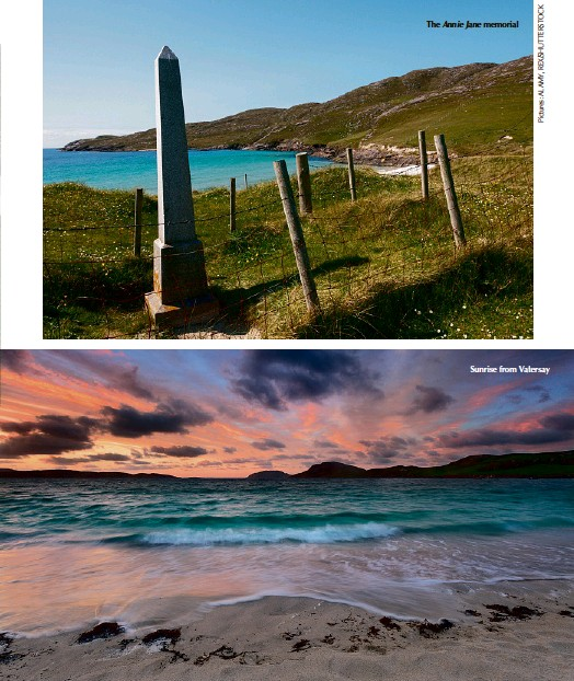 ??  ?? The Annie Jane memorial Sunrise from Vatersay