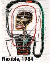 ??  ?? Firmaba sus grafitis con la etiqueta SAMO, same old shit (la misma mierda de siempre). Flexible, 1984