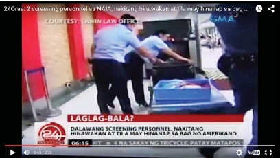 ??  ?? A VIDEO grab of GMA's '24 Oras' newscast shows two airport personnel opening the luggage of American missionary Lane Michael White who was caught allegedly in possession of a bullet inside his luggage on Sept. 17 at the Ninoy Aquino International...