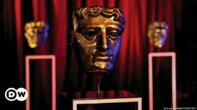 ??  ?? The stage of the BAFTA awards with one award trophy in the foreground