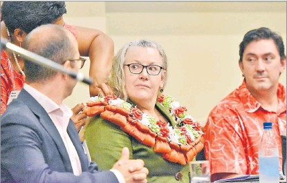 ?? Picture: RAMA ?? Ministry of Communications and Information Technology permanent secretary Deborah Weiss (middle) was chief guest at the Virtualflex and Lenovo summit at the Grand Pacific Hotel.