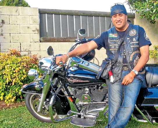 ??  ?? Tiki O'Brien, an ''original'' member of Tribal Nations, a New Zealand-wide motorcycle club that works to raise funds for charities. The group's motto is F.A.I.T.H. – standing for Tribal Nations' five core values: Family, Acceptance, Integrity, Trust and Honesty.