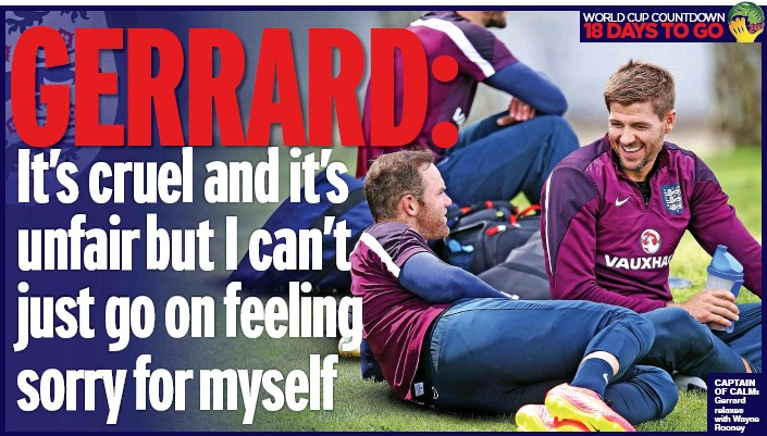 ??  ?? CAPTAIN OF CALM: Gerrard relaxes with Wayne Rooney