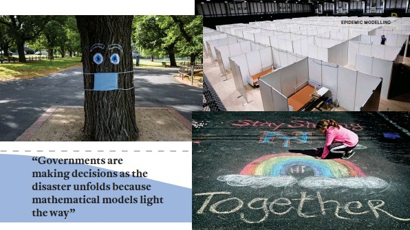 ??  ?? SIGNS OF THE TIMES (clockwise from opposite left): Store shelves were stripped as people stockpiled essentials; in Australia, queues snaked from Centrelink offices as lockdown prompted huge job losses; social distancing messaging got creative in a Melbourne park; workers completed a pop-up medical facility in Tokyo; a New York girl drew in her driveway to entertain passersby; at the Como Park Zoo in St Paul, Minnesota, African blackfooted penguins Cupid, BJ and Amahle stopped to smell the hyacinths.