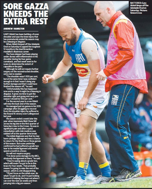 ??  ?? BATTERED: Gary Ablett limps off the Adelaide Oval on Saturday. Picture: Simon Cross