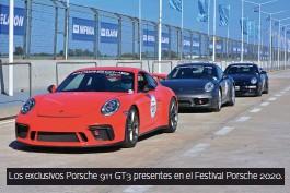 ??  ?? Los exclusivos Porsche 911 GT3 presentes en el Festival Porsche 2020.