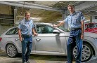 ??  ?? Police deputy commissioner Jevon McSkimming, left, and commissioner Andy Coster with a Skoda wagon.