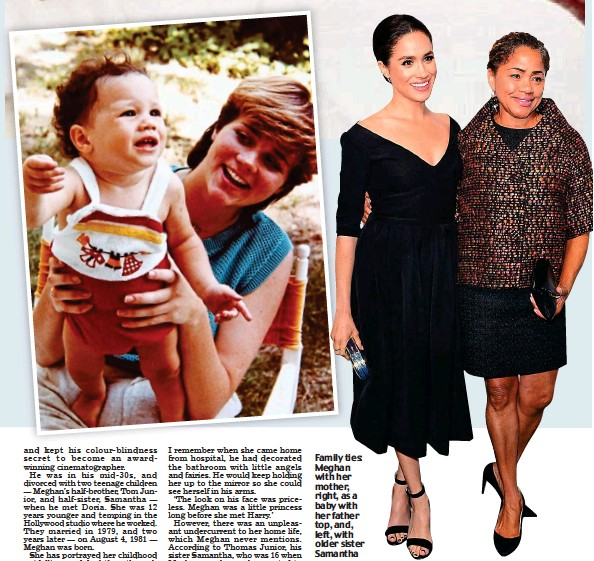??  ?? Family ties: Meghan with her mother, right, as a baby with her father top, and, left, with older sister Samantha