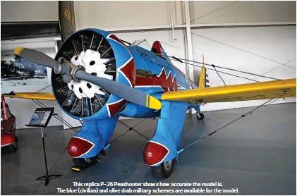 ??  ?? This replica P-26 Peashooter shows how accurate the model is. The blue (civilian) and olive drab military schemes are available for the model.