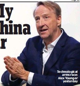 ??  ?? Technological arms race: Alex Younger yesterday