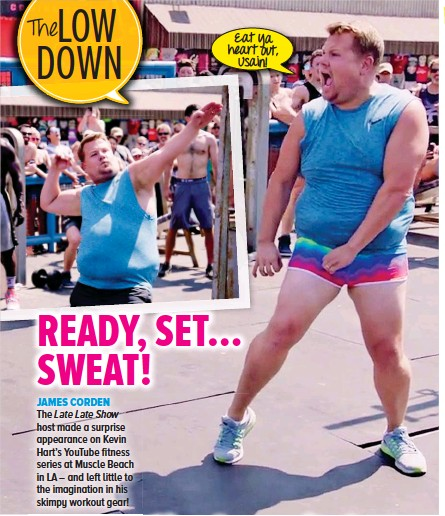 JAMES CORDEN. The Late Late Show host made a surprise appearance on Kevin  Hart s Youtube fitness series at Muscle Beach in LA – and left little to  the ... 8ef825169