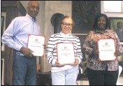 ?? PHOTO BY BRAD DRESS ?? George Albury (left), Paulette Albury and Vanessa Wright have all been awarded citations for being members of the founding Black families of Maryland.