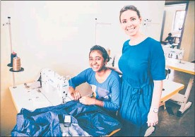 ??  ?? Ana Wilkinson-Gee in the sewing house with one of the sewing students in rural India.