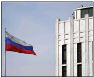 ?? (AP/Carolyn Kaster) ?? The Russian flag flies Thursday on the grounds of the Russian Embassy in Washington. After the U.S. imposed sanctions Thursday, Russian officials vowed a swift series of retaliatory measures.