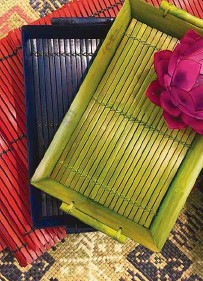 ??  ?? Bamboo trays and home accents by M'con Pieces.