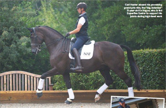 """??  ?? Carl Hester aboard his promising grand prix ride, the """"big, talented"""" 11-year-old En Vogue, who is fed Superflex Senior to support his joints during high-level work"""