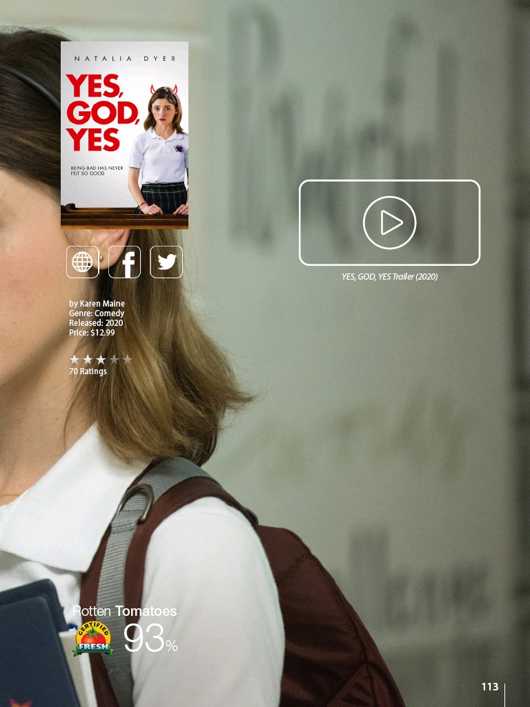 ??  ?? by Karen Maine Genre: Comedy Released: 2020 Price: $12.99 YES, GOD, YES Trailer (2020)