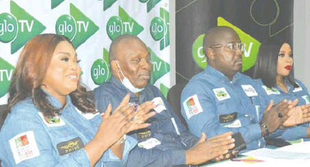 ??  ?? L-R: Jumobi Mofe-Damijo, senior manager, events/special projects; Ugochukwu Ibe, web sales; Sola Mogaji, senior manager, events; and Udenna Okafor, brand specialist, all of Globacom, at the launch of Glo TV in Lagos. IMAGE BY Pius Okeosisi