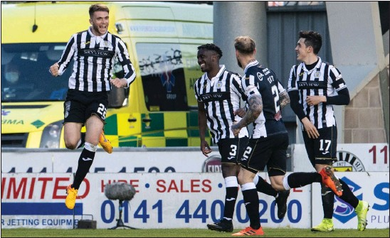 ??  ?? Marcus Fraser celebrates after hitting the mark for St Mirren as they fought back from 1-0 down to knock Inverness out of the cup