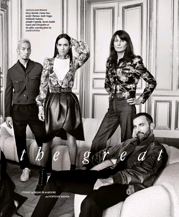 ??  ?? NICOLAS AND FRIENDS Stacy Martin, Doona Bae, Justin Theroux, Ruth Negga, Hidetoshi Nakata, Jennifer Connelly, Marie-Amélie Sauvé and Ghesquière at his office, wearing pieces by LOUIS VUITTON
