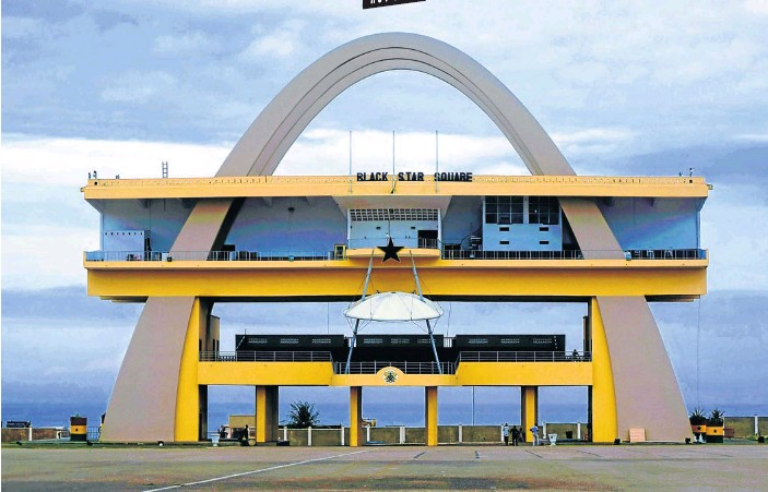 ?? Pictures: Lulama Njapa ?? BLACK PRIDE Independence Arch in Accra, Ghana, is on Independence Square, also known as Black Star Square.